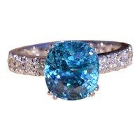 Natural Fancy Vivid Blue Zircon in Platinum