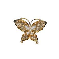 18 Karat Yellow Gold Butterfly Pendant/Brooch Combination
