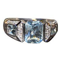 Radiant Cut Aquamarine  & Diamond Ring in White Gold