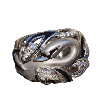 Signed Diamond and Enamel Swan Ring