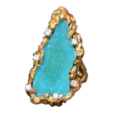 Vintage Brutalist Druzy Ring in Yellow Gold with Diamonds
