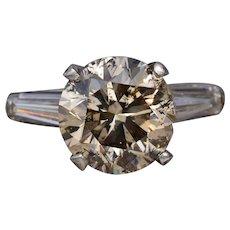 Vintage 5.17 Carat Cognac Colored Diamond Engagement Ring