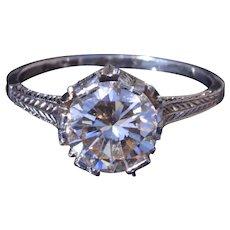 Ladies 18 Karat White Gold Filigree Engagement Ring with 1.85 Carat European Cut Diamond