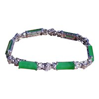 Outstanding Signed Imperial Fei Cui Jadeite A Jade Bracelet set with Diamonds