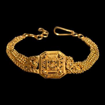 Handmade 22 Karat Gold Beaded and Diamond Cut Adjustable Bracelet