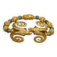 Ilias Lalounis Signed Bracelet Features Two Kissing Ram Heads