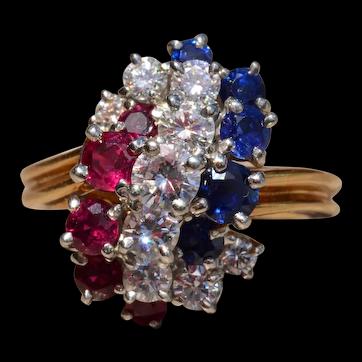 Patriotic Oscar Heyman Signed Ruby, Diamond, Sapphire Ring in 18Kt and Platinum