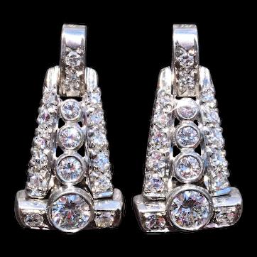 Platinum Dangler Earrings Set with 1.42 Carat Total Weight in Diamonds