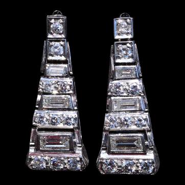 Art Deco Platinum Dangler Earrings Set with Diamonds
