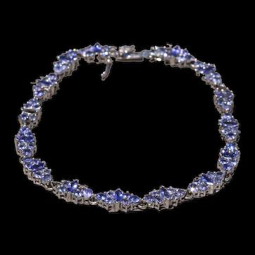 Lavender Colored Tanzanite Bracelet in White Gold