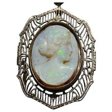 Carved Opal Cameo in White Gold Filigree Frame