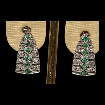 Antique Rose Cut Diamond & Emerald Dangler Earrings
