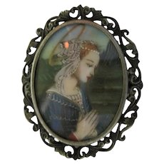 Hand Painted Portrait Pin 800 Silver signed Pendant Brooch