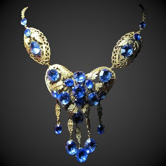 Large Deco Czechoslovakia Faux Sapphire Art Glass Bib Necklace