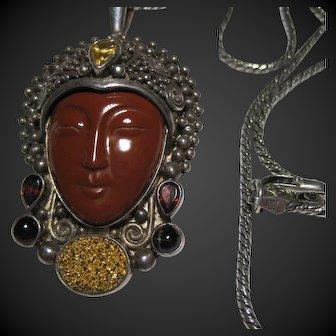 retro SAJEN 925 Carved GODDESS Face Red Jasper Topaz Garnet PENDANT Necklace