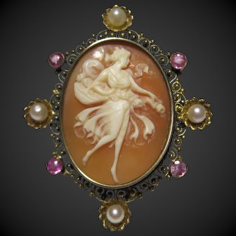 Antique full figure 12k gold shell cameo brooch pin Muses Pearl Ruby