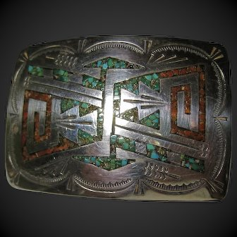 signed Vintage Silver Buckle Native American Ella Cowboy Navajo chip Turquoise and Coral inlay