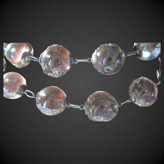 """36"""" Edwardian """"Pools of Light"""" Rock Crystal Sterling Necklace Floral Bezels  c. 1905!"""