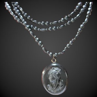 long Victorian Mourning hand cut matte finish Onyx bead necklace Vulcanite Cameo