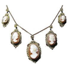 Vintage 800 Silver Filigree 5 carved Shell Cameo Necklace Diana the Huntress