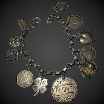 Antique Victorian US Love Token Charm Bracelet Silver