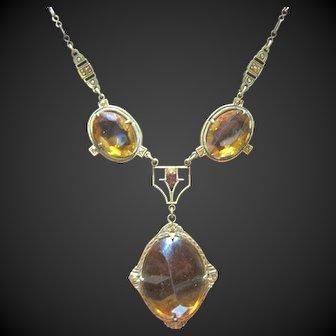 Excellent Art Deco Brass Glass Necklace Strong design Amber glass