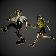 1950s vintage enamel Lil Abner and Daisy Mae Brooch Pins  large