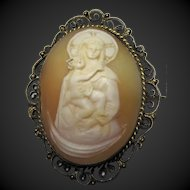 Vintage 800 Silver Mother and Child Shell Cameo Madonna Brooch pin artist signed
