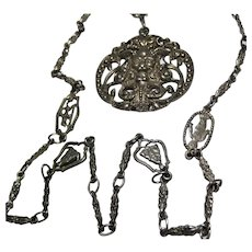 early Fratelli Coppini 800 Silver Necklace & Pendant Bacchus Horned Devil Florentine Italy