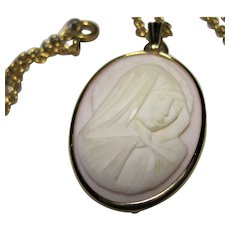vintage gold filled Carved Shell Cameo Madonna Pendant