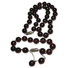 vintage Cherry Amber Bakelite Necklace Bracelet Sterling