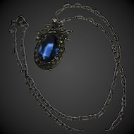 early Edwardian Sapphire Paste Sterling Pendant Necklace