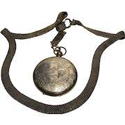 antique Victorian Watch Case Ambrotype Locket on Book chain Necklace photos bookchain gf