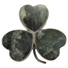 early hallmarked 925 Connemara Marble Clover Brooch pin Celtic Irish signed