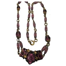 1920-30s Czech Brass Glass Necklace Amethyst glass Czechoslovakia