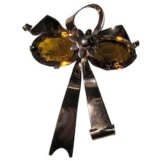 large Stunning retro Sterling & rose gold vermeil Amber Glass Bow Brooch pin