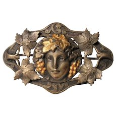 Deco Nouveau brass sash pin brooch Bacchus Dionysus God of the Grape Harvest