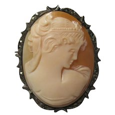 800 Silver Marcasite carved Shell Cameo Goddess Brooch pin pendant