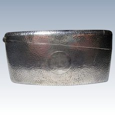 Sterling Id'd Calling Card Case peened hammered design WHS marked