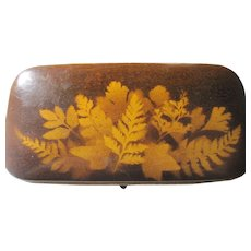 antique Victorian FERNWARE Mauchline ware Fern Ware Sewing Etui needle case