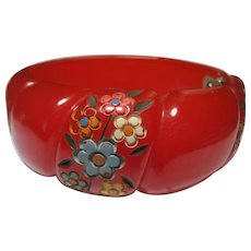 rare carved Red Bakelite Clamper hinged Bangle Bracelet Painted Flowers