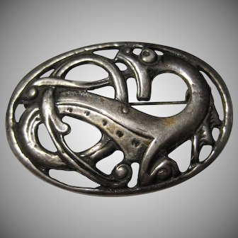 signed Sterling Stylized DRAGON Brooch pin