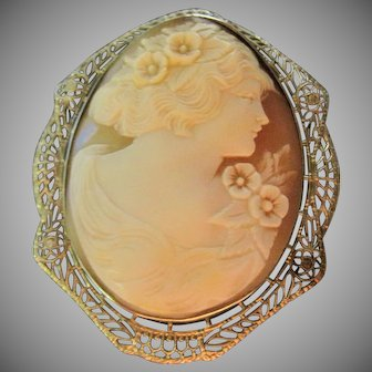 Large Stunning 14k Edwardian Filigree carved shell Cameo Brooch pin pendant