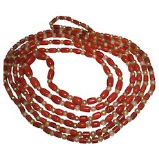 Antique Victorian Salmon Coral Bead Necklace 54 inch
