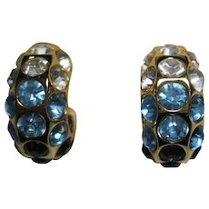 1980s Christian Dior Chr. Dior blue crystal Clip on Huggies Earrings unused