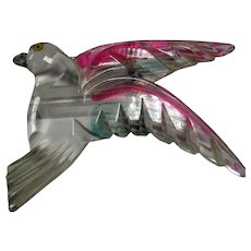 large vintage 1940s Reverse Carved Lucite Bird in Flight colors
