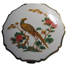 1970s STRATTON Made in England Pheasant motif Enamel Compact