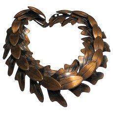 Mid Century signed REBAJES Copper Leaf link Bracelet