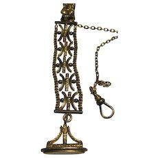 antique 1890s Vest Pocket Watch Chain and Fob gold filled