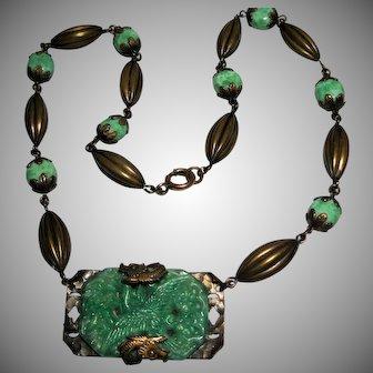 1920s vintage Czech Peking Glass Brass Dragon Asian Motif Necklace